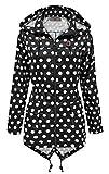 SS7 Damen schwarz & weiß gepunktet Regenmantel festival-jacke,sizes 8 to 16 - schwarz mit weißen Punkten, 44