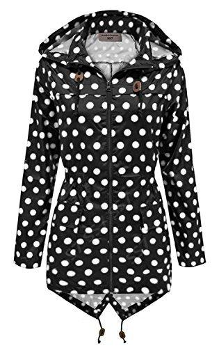 SS7 Damen schwarz & weiß gepunktet Regenmantel festival-jacke,sizes 8 to 16 - schwarz mit weißen Punkten, 40