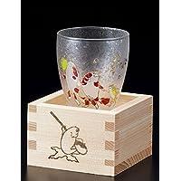 "Aderia Japan Edo Neko (gato) MasuZake Glass (cristal de sake japonés) con caja de masu de gatos ""oro pez"" 6783"