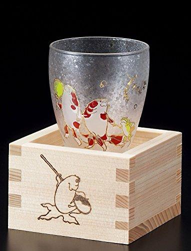 Aderia Japan EDO Neko (Katze) masuzake Glas (Japanisches Sake Glas) W/Masu Box süße Katzen Gold Fish 6783 -