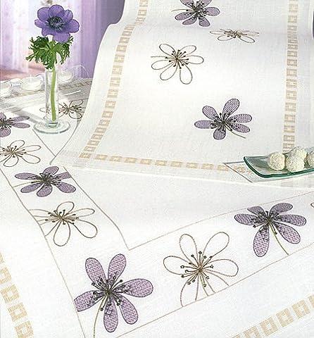 Anémone Violet Chemin de table, 45x 140cm Kit broderie pour