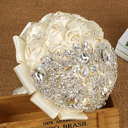Yahuyaka diamante delle rose del mazzo della tenuta della sposa di nozze romantiche avanzate di personalizzazione (color : white2)
