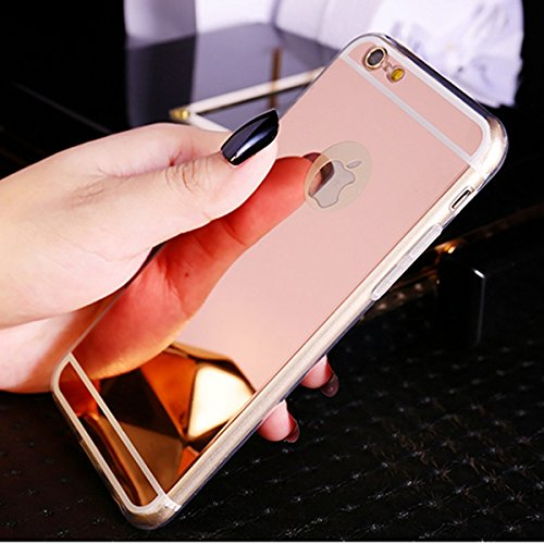 iPhone 6S Cover,iPhone 6 Custoida,KunyFond Cover Custodia per iPhone 6/6S 4.7 in Silicone Diamante Bling Glitter Custodia Cover Moda Lusso Orso Bello Lovely Specchio con Anello Supporto Scintilla Scin rose oro Placcatura