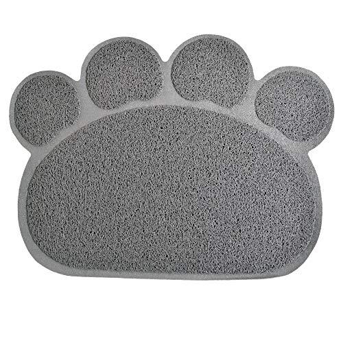Duke-Handel Napfunterlage groß für Hunde und Katzen in Pfotenform Futtermatte rutschfest & wasserdicht Silikon Fressnapfunterlage (Grau)