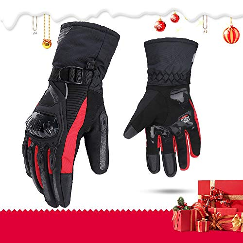 Motorrad Handschuhe winter Motorradhandschuhe Touchscreen Handschuhe Wasserdicht Winddicht Sporthandschuhe Warm Handschuhe (M,Rot)