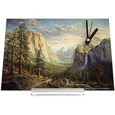 Reloj de escritorio Viaje Por El Mundo Cascada de las montañas Bosque Ecuestre Decoración