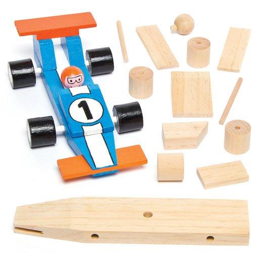 Rennwagen-Bastelsets aus Holz für Kinder zum Basteln und Dekorieren als Geschenk zum Vatertag (2 Stück)