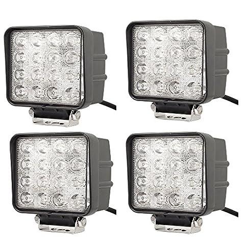 JVJ 4 X lampe LED 48W 16LED projecteurs spots idéal pour véhicule tout-terrain, chantier, phares anti-brouillard de camion, Jeep, bateau, 9V-30V Haute puissance à faible consommation A55