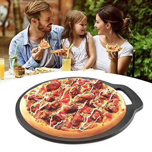 Pizza-Backstein Pizzastein Pizzapfanne Pizzableche Antihaft Gusseiserne Grill-Pfanne Pizzaschieber Pizza Stone mit griff, zum Backen von leckerer Pizza, Brot und Scones (Für Grill Pizza-pfanne)