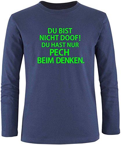 EZYshirt® Du bist nicht Doof ! Du hast nur Pech beim Denken Herren Longsleeve Navy/Neongrün