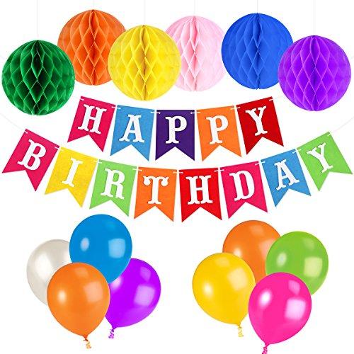 UNOMOR Geburtstag Dekorationen für Party mit Farbenfrohen Farbigen Happy Birthday Banner - Für Geld-baum Partei Die