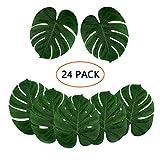 Kalolary 24pc Décorations de fête artificielles pour Palmiers tropicaux artificiels, Grande Taille (13.8 sur 11.4 Pouces) Faux Feuilles de Palmier pour Hawaiian Luau Safari Jungle Beach