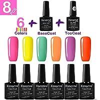 KANORINE 8pcs Nail Gel polish Set (6 colors + base & top coat) Soak off UV/LED Gel Nail Polish Long Lasting Gel Varnish Manicure Gift Set 10ml x8pcs