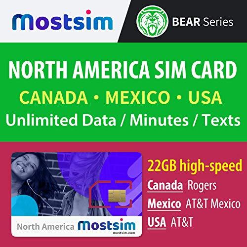 MOST SIM - AT&T SIM Card per USA, Canada, Messico, 22 GB di dati ad alta velocità e illimitato telefonate/SMS - 17 giorni