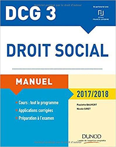 DCG 3 - Droit social 2017/2018 - 11e éd. - Manuel par Paulette Bauvert