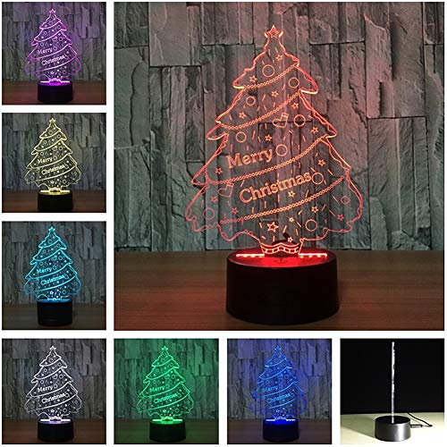 display08 Sapin de Noël 3D LED Veilleuse Commande Tactile Décor Lampe de Bureau Cadeau