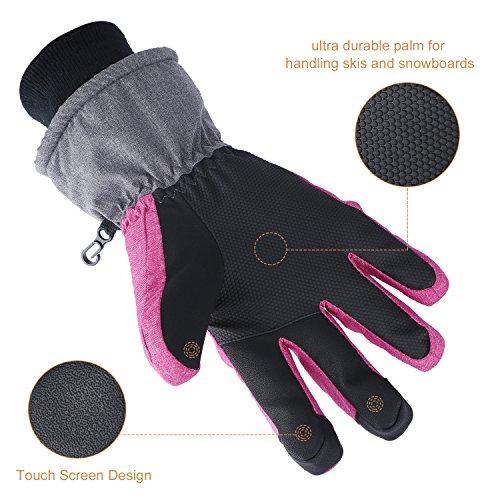 Fazitrip 3M Thinsulate Handschuhe, winddichte & wasserdichte Handschuhe Damen, Funktion als Ski Handschuhe, Radfahren Handschuhe, Laufschuhe oder andere Sporthandschuhe im Winter (Pink/Gray, S/M)