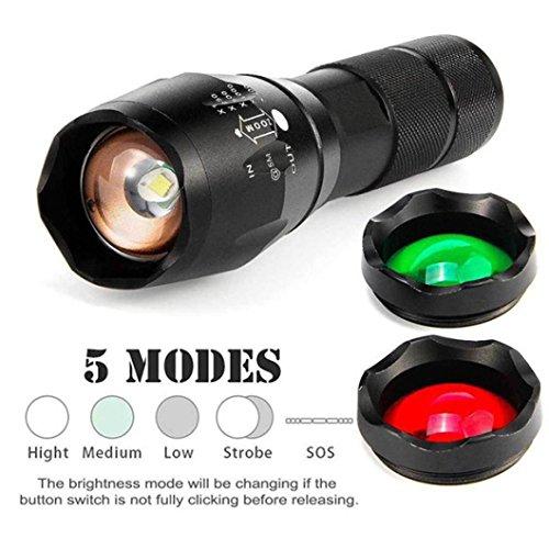 LED Taschenlampe mit 3 Farben, Gusspower Taktische Zoombar Wiederaufladbar Wasserdichte Tragbare Fackel mit 5 Lichtmodi, 2000 Max Lumen für Camping Wandern und Outdoor -