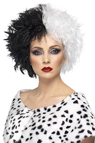 Smiffys Damen Kurze Perücke, Böse Madame Perücke, Schwarz und Weiß, One Size, (Cruella De Vil Kinder Kostüm)