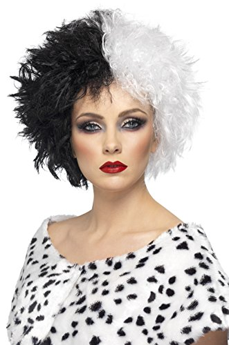 Smiffys Damen Kurze Perücke, Böse Madame Perücke, Schwarz und Weiß, One Size, 42117