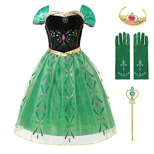 Scully Kostüm - HOTSTREE Anna Green Princess Dress for Baby Girl Embroidery Shoulderless Floral Anna Party Dress Kid Cosplay Clothes Summer Fancy Costume Blue 2T