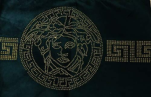 Deko-König Medusa Samt Tischdecke Tischläufer schwarz mit goldenen Pailletten (130x33 cm)