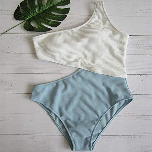 MICOKY Badeanzug sexy Einteilige Badebekleidung Damen schnell trocknend hochelastisch eng anliegende Schulter farblich passender Bikini