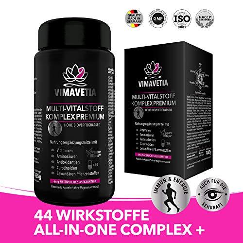 VIMAVETIA® MULTI-VITALSTOFF KOMPLEX PREMIUM Astaxanthin 6mg, Anti Aging & Collagen Booster Vegan & Augen Vitamine & Sehkraft, Vitamin B Komplex, C, A, D3 + K2 MK7, OPC, Selen, 90 DRCaps, Laborgeprüft - B-komplex 90 Kapseln