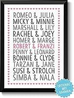 DU & ICH - LIEBESPAARE - Bild für Verliebte Ehepaare & Paare - Rahmen optional - Geschenk Valentinstag Geburtstag Jahrestag Hochzeitstag Hochzeit Frau Mann