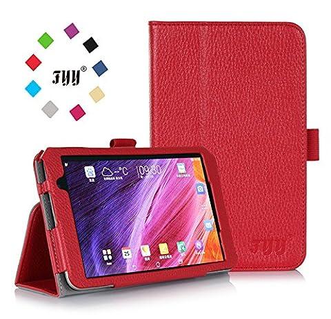 ASUS MeMo Pad 7 Case, ASUS MeMo Pad 7 ME176CX Case, Fyy® Premium Soft Folio Leather Case for ASUS MeMo Pad 7 ME176CX Red (With Auto Wake/Sleep Feature)