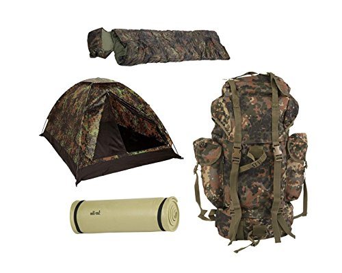 Biwak Camping Set Zelt BW Kampfrucksack Isomatte Schlafsack Set 4 Teile flecktarn - Zelte Camping-ausrüstung Und