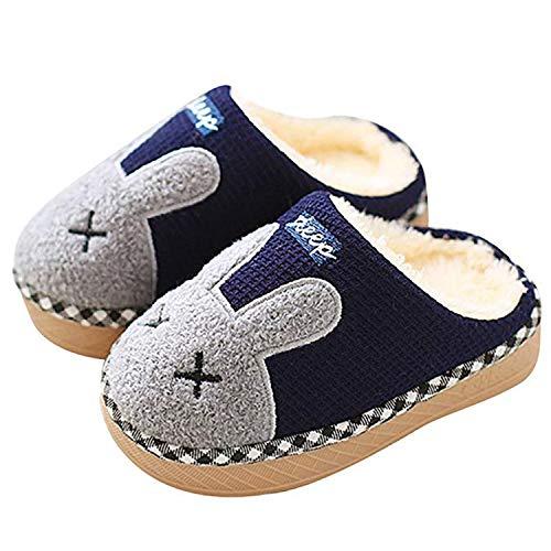 Sitaile pantofole bambine bambini morbide scarpe di cotone con coniglio antiscivolo e calde pelliccia interno ciabatte invernali per felice natale 01-blu,31/32