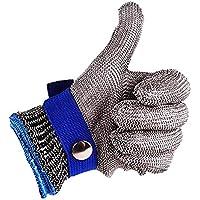 Seguridad Corte prueba puñalada resistente acero inoxidable de malla metálica carnicero guante de color azul talla L de alto nivel de rendimiento 5protección