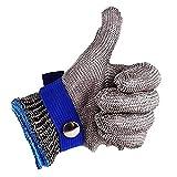 Gant de Boucher en Cotte de Maille Acier inoxydable résistant Coupe Bleu Haute Performance Niveau 5Protection Taille S