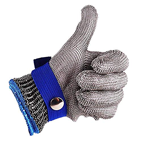 Sicherheit Cut Proof Stab Resistant Edelstahl Metal Mesh Butcher Blau Handschuh Größe L High Performance Level 5Schutz -
