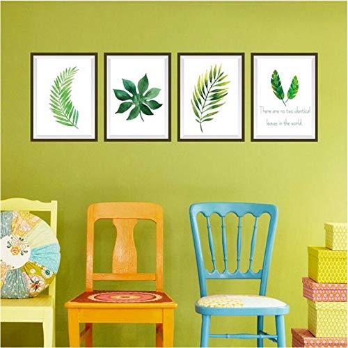Qwerlp Foto Gerahmte Grüne Blätter Pflanze Decals Liebe Vinyl Wandbild Aufkleber Wandaufkleber Für Glasfenster Wohnzimmer Dekoration Poster
