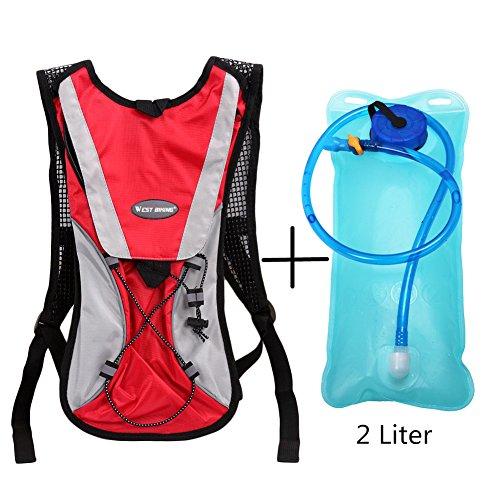 West Biking Aktualisiert stärker Hydration Rucksack Rucksack mit Blase für Radfahren Laufen Wandern Klettern Camping–Die meisten leicht Pack mit Wasser Tasche für Outdoor Sports 6Farben Rot