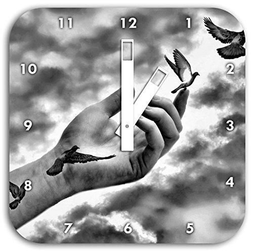 Stil.Zeit Monocrome, Vögel fliegen in die Freiheit, Wanduhr Durchmesser 28cm mit weißen eckigen Zeigern und Ziffernblatt
