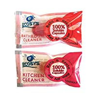 Ecosys Refill Pack of 2: Bathroom Cleaner & Kitchen Cleaner water soluble capsule each-1Litre