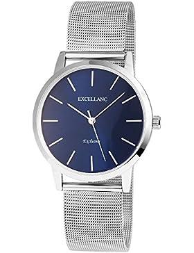 Excellanc Damenuhr analog Armbanduhr Silberfarbig Quarzwerk und Metallgehäuse rund 40mm x 10mm Metallmeshband...