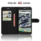 SMTR Alcatel Pixi 4 6 inch (4G) (9001X) Coque PU Cuir Flip Housse Étui Cover Case Wallet Portefeuille Supporter avec Carte de Crédit Fentes pour Alcatel Pixi 4 6 inch (4G) -Noir