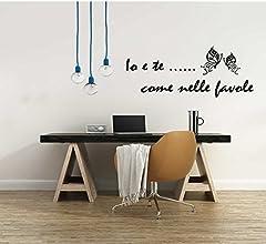 Idea Regalo - Adesivo Murale Io e Te ... come nelle favole Canzone Vasco Rossi (120x50 cm.) per decorazione casa Adesivo4You (Nero)