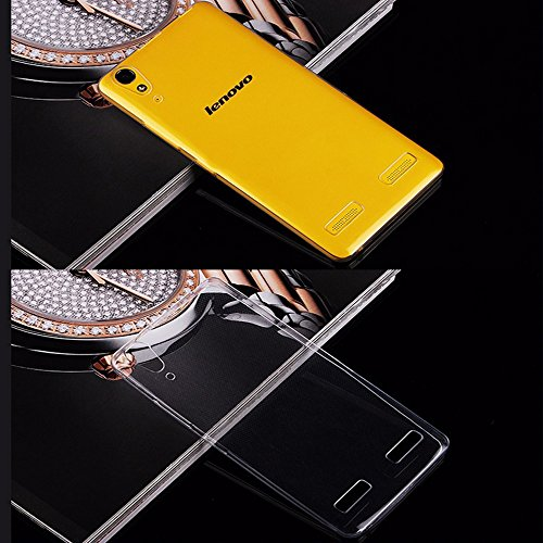 TheGiftKart Ultra Thin Soft Series Silicone Transparent Clear Case Cover for Lenovo A6000 A6000+ A6000 Plus (FREE TEMPERED GLASS)