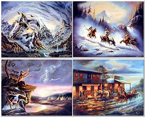 ry Western Cowboys mit Pferde Western Thema Vier Set 8x 10Bild Wand Dekor Art Print Poster ()