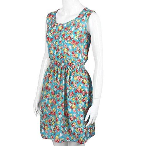 Rcool Frauen gedruckt Sommer Strand Kleid Chiffon Floral ärmellose  Partykleid Blau