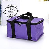 Preisvergleich für Yudanwin Leinwand-Lunch-Tasche Einfarbige Nette quadratische Kühltasche Lunch Bag (lila)