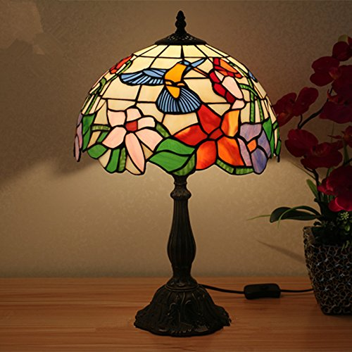 Glasmalerei Deckenleuchte (Tiffany Stil Glasmalerei Lampe handgefertigt klassischen antiken Bienen Vogel Nachttisch Beleuchtung 12