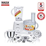 Inalsa Food Processor Fiesta 650-Watt with Break Resistant Processing Bowl, Blender, Dry Grinding
