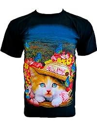 Rock Chang T-Shirt * Sweet Cat * Chat Floral Doux * Noir R682