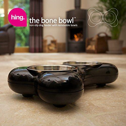 Hundenapf aus Edelstahl in Knochenform – mit zwei herausnehmbaren Schüsseln, schwarz - 5